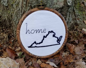Custom State Embroidered State Wall Hanging Handmade in the USA Pick your colors! Any state!