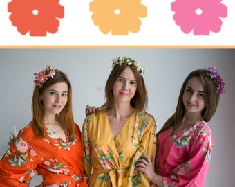 Watermelon Pink, Mustard and Orange Wedding Color Bridesmaids Robes - Premium Soft Rayon - Wider Belt and Lapels - Wider Kimono sleeves