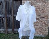 Altered Women's White Shrug, Altered Couture- Extra Large, White Sheer Ruffled Trim, Scalloped Embroidered Sheer Skirt, Shabby Chic,Romantic