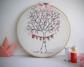 """Personalised Handmade Cherry Blossom Tree with Name Bunting. Framed in 10"""" hoop. Freemotion machine embroidery. Hanging loop. Fully backed."""