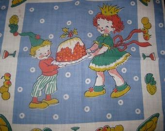 Vintage Plum Pudding Child's Christmas Handkerchief, Hanky
