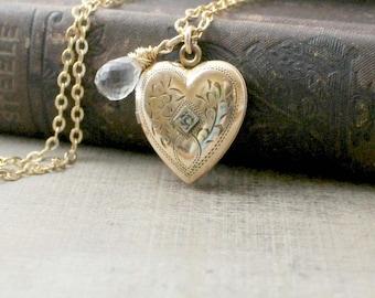 Gold Locket Necklace, Gold Heart Locket, Gold Filled Locket, April Birthstone Locket, Gold Picture Locket, Gold Photo Locket, Push Present