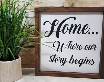 "Home Where Our Story Begins Framed Sign Farmhouse Sign 12"" x 12"" Wood Sign"