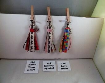 Purse Zipper Charm Planner Tassel Charm Gift Under 5 Stocking Stuffer Key Fob work Lanyard Handbag Identification tag key ring