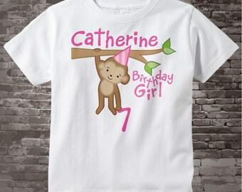 Girls 7th Birthday Shirt, Seventh Birthday Monkey Shirt, Personalized Birthday Girl Monkey Shirt any Age 02142014c
