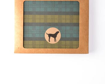 Men's Gift of Boxed Notes - Glen Plaid Pattern Set of 8 with icons of dogs, tools, beard, ties, guitar, headphones