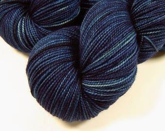 Hand Dyed Yarn - Sock Weight Superwash Merino Wool Yarn - Ink Tonal - Indie Dyed Knitting Yarn, Sock Yarn, Navy Blue Fingering Weight