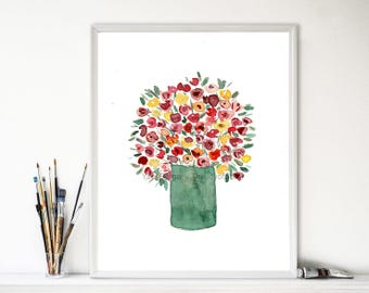 Colorful bouquet art print, watercolor print, flower bouquet print, Still Life, floral art, mother's day, Green, Red, Pink, orange, yellow