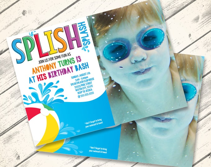 Pool Party Photo Invitation - BeachParty, Summer Birthday,Water Party,Slip N' Slide Party | Editable Text DIY INSTANT Download PDF Printable