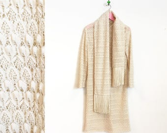 Vintage 1970s Off-White Lace-like Long Sleeved Midi Dress with Matching Scarf by Carlye Size S-M