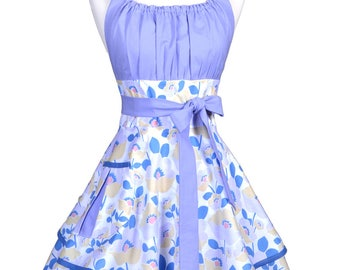 Womens Flirty Chic Apron , Lavender Floral Womans Cute and Sexy Retro Vintage Style Pinup Kitchen Apron with Full Ruffled Skirts (DM)