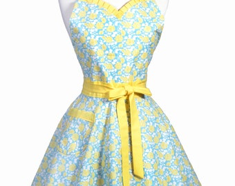 Sweetheart Pinup Womans Apron - Aqua Yellow Floral Retro Vintage Inspired Flirty Ruffled Kitchen Apron with Pockets (DP)