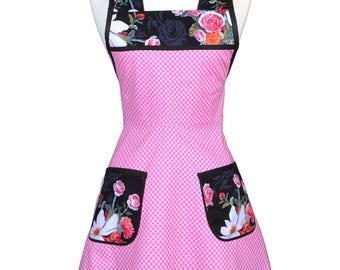 Stella 50s Style Retro Apron / Pink Gingham Check Womans Cute Old Fashioned Vintage Inspired Kitchen Cooking Apron to Monogram (FM)