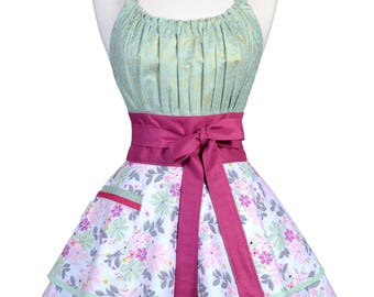 Flirty Chic Retro Apron in Womens Mint Green and Pink Floral with Raspberry Trims Vintage Kitchen Apron with Personalized Monogram Option