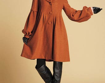 Brown Jacket, wool Coat, wool jacket, winter coat, dress coat, womens jackets, ladies clothing, Mod clothing, Made to order,Gift for her 383