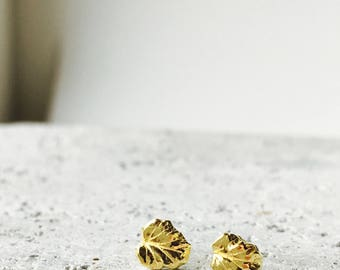 Solid 22k gold studs, tiny leaf posts, 22k and 18k solid gold earrings.