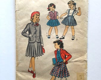 Vintage Sewing Pattern Girls 50's Advance 5922, Jacket, Weskit, Skirt (S)