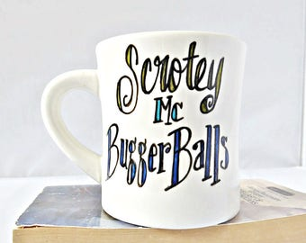 Funny Diner Mug, funny gift, testicles, penis, dick, coffee cup, tea, for him, personalized, snarky, naughty, rude, inappropriate, ceramic