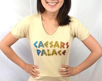 Fun Vintage 1980s 80s Rainbow Sparkle Fitted Iron On Tee Shirt Tshirt