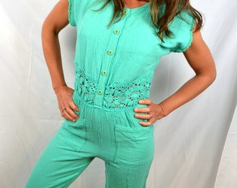 Vintage Teal 1980s Onesie Summer Romper Cotton Lace Hippie Jumpuit