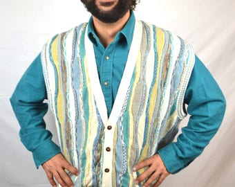 Vintage 80s 90s COOGI Style - Australia Rainbow Cosby Sweater Vest - Florence Tricot