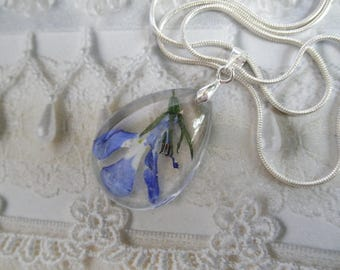 Royal Blue Lobelia Encased In Glass-Teardrop Real Pressed Flower Pendant-Nature's Wearable Art-Symbolizes Loyalty-Gifts Under 32