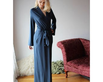 long bamboo robe with side pockets - NOUVEAU bamboo sleepwear range - made to order