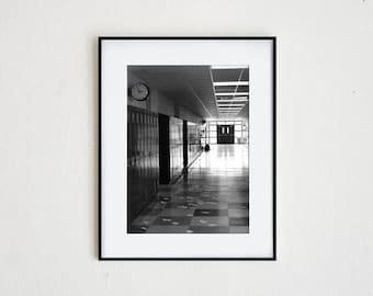 SCHOOL'S OUT | instant download, printable wall decor, minimalist, black and white, architecture, modern photography, surreal art, abandoned