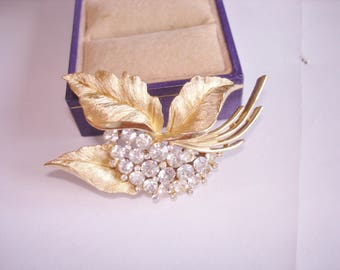 Signed Crown Trifari Clear Rhinestone Leaf  Brooch Gold  Tone
