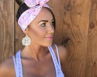 Unicorn Pinup Dolly Bow Headband || Hair Band Festival Pink Accessory Fantasy Fashion Pink Blue Mint Unicorns White Head Scarf Girl