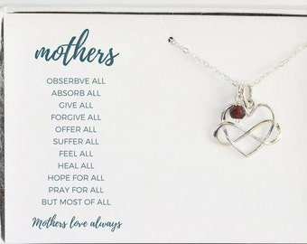 Mothers Heart Necklace - Unique Gift for Mom - Mothers Birthstone Necklace - New Mom Birthstone Necklace - Custom Mommy Necklace
