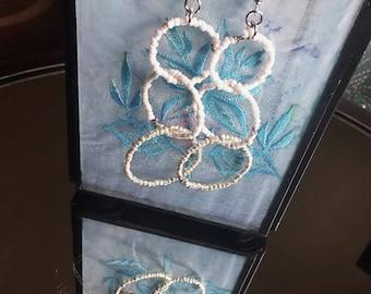 Earrings - Dangle - White and Silver Beaded Circle Dangles - Long - Boho