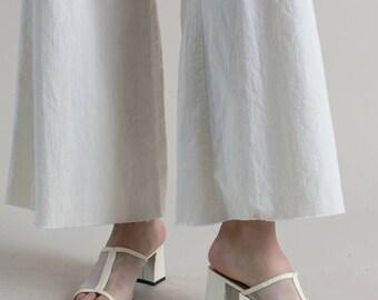 Vintage 90s White Mesh Block Heel Slides / Womens Heels Size 7