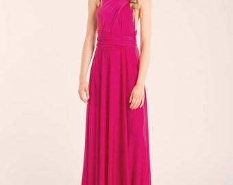 Pink bridesmaid dress, long dress, hot pink bridesmaid dresses, fuchsia maxi dress, pink infinity gown, fuchsia dress, pink infinity dress