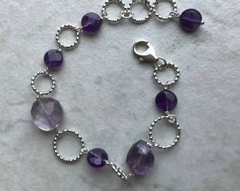 February birthstone, birthstone bracelet, amethyst jewelry, Valentines gift for her, gemstone jewelry, gift for wife, bridal jewelry, gift