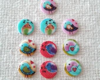 20 mm Bird Button Assortments - Sets of 10