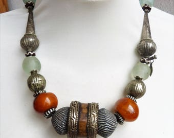 Africa Asia Fusion Necklace, Tibetan Amber and Bone Ring, Ethiopian and Mali Beads , statement Necklace, Art to Wear