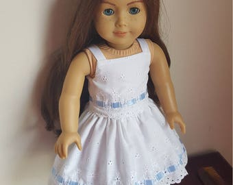 18 inch Doll Dress, Fits American Girl, White Eyelet Dress with Blue Ribbon Trim