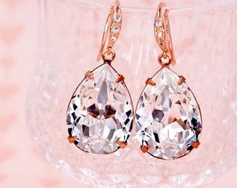 Rose Gold Wedding Bridal Swarovski Crystal Teardrop Earrings, Bridesmaid Earrings Wedding Brides Earrings, Silver Rose Gold, Carrie