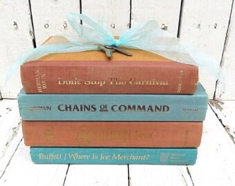 Vintage Books, Aqua Rust Books, Old Books, Decor Books, Antique Books, Home Office Decor, Instant Library, Shabby Cottage Chic, Farmhouse