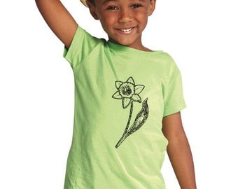 Children's Daffodil Shirt, Easter Basket Shirt, Hand Printed Graphic Tee, Daffodil Print, Spring Flowers, Spring Garden, Soft Cotton Tshirt