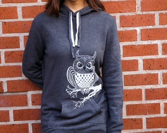 Owl| Hooded Sweater dress| Soft| tunic| art by MATLEY| Gift for her| Bird| winter dress| Women's Jumper| tall| Zen| Perfect holiday gift.