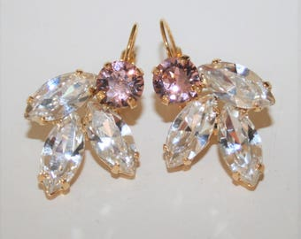 Estate Earrings,Clear crystal and Blush Pink earrings,Bridal Crystal Earrings,Blush Earrings,Crystal Jewelry,Cluster,Statement,Rhinestone