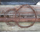 Barbed Wire Wreath Rusty Salvage Vintage Rustic Western Available in 13 and 18 Inch Diameter