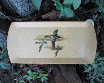 Duck Print Wood Snack Serving Trays HASKO Wood Veneer Lithographed Paper Rectangular Buy 1 or Buy Them All!