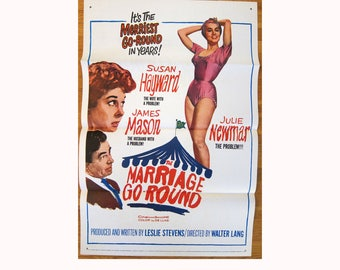 vintage original 1961 film poster The Marriage-Go-Round James Mason Julie Newmar