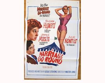 vintage original 1961 film poster The Marriage-Go-Round James Mason Julie Newmar