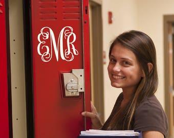 Monogram Locker Decal for school lockers, bins, cabinets, Vine Monogram sticker, Locker accessories, Locker decorations Teen vinyl lettering