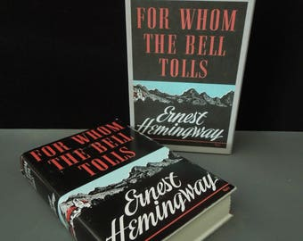 Ernest Hemingway For Whom the Bell Tolls Slipcase Novel 1940 - First Edition Library Vintage Book - Original Dust Jacket - Literary Gift
