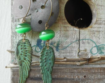 LA FEE VERTE, The Absinthe Fairy. Green Cats Eyes & Verdigris Green Patina Brass Angel Feather wing dangle earrings. Eire Irish Fae